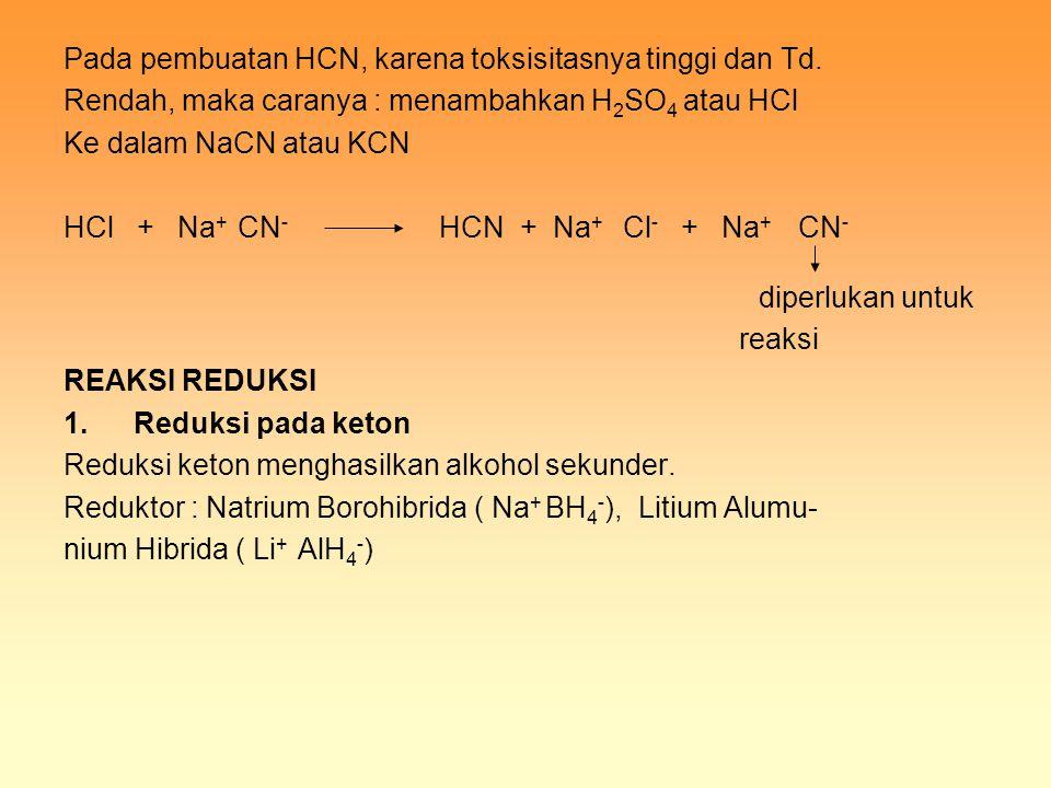 Pada pembuatan HCN, karena toksisitasnya tinggi dan Td. Rendah, maka caranya : menambahkan H 2 SO 4 atau HCl Ke dalam NaCN atau KCN HCl + Na + CN - HC