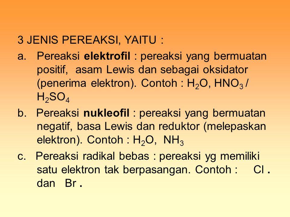 3 JENIS PEREAKSI, YAITU : a.Pereaksi elektrofil : pereaksi yang bermuatan positif, asam Lewis dan sebagai oksidator (penerima elektron). Contoh : H 2