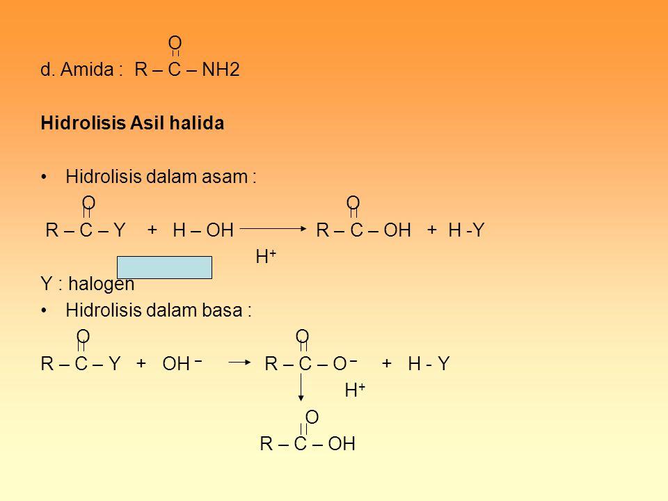 O d. Amida : R – C – NH2 Hidrolisis Asil halida Hidrolisis dalam asam : O O R – C – Y + H – OH R – C – OH + H -Y H + Y : halogen Hidrolisis dalam basa