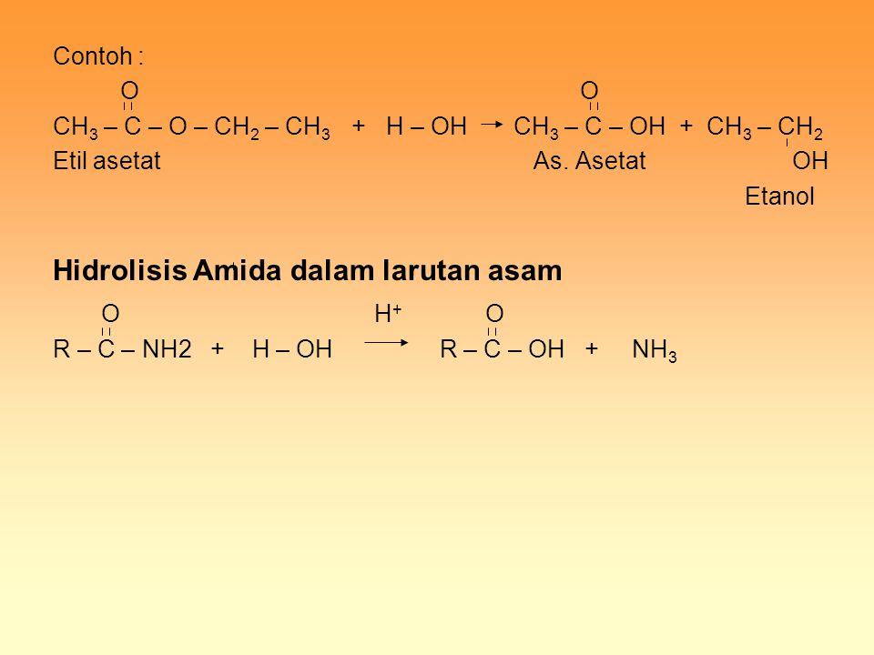 Contoh : O O CH 3 – C – O – CH 2 – CH 3 + H – OH CH 3 – C – OH + CH 3 – CH 2 Etil asetat As. Asetat OH Etanol Hidrolisis Amida dalam larutan asam O H