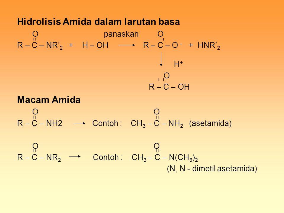 Hidrolisis Amida dalam larutan basa O panaskan O R – C – NR' 2 + H – OH R – C – O - + HNR' 2 H + O R – C – OH Macam Amida O O R – C – NH2 Contoh : CH