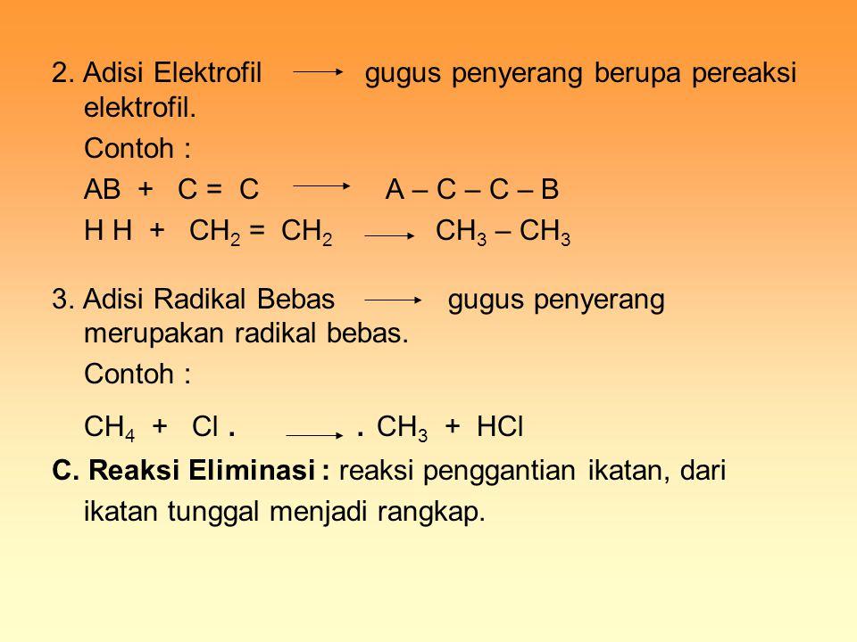 2. Adisi Elektrofil gugus penyerang berupa pereaksi elektrofil. Contoh : AB + C = C A – C – C – B H H + CH 2 = CH 2 CH 3 – CH 3 3. Adisi Radikal Bebas