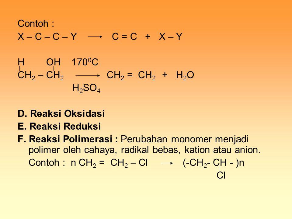 Contoh : X – C – C – Y C = C + X – Y H OH 170 0 C CH 2 – CH 2 CH 2 = CH 2 + H 2 O H 2 SO 4 D. Reaksi Oksidasi E. Reaksi Reduksi F. Reaksi Polimerasi :