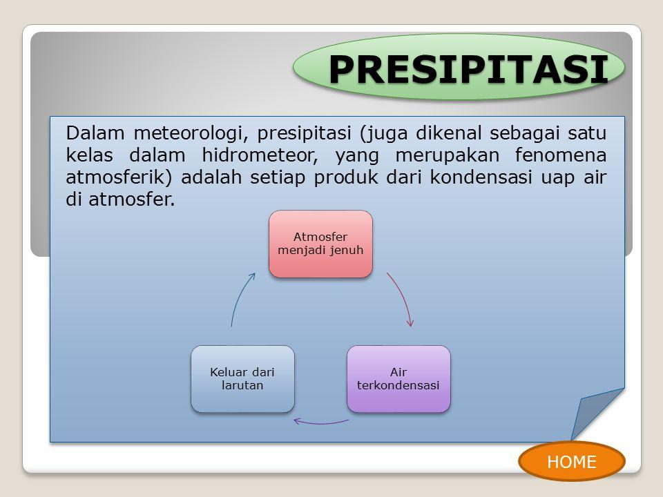 PRESIPITASI Dalam meteorologi, presipitasi (juga dikenal sebagai satu kelas dalam hidrometeor, yang merupakan fenomena atmosferik) adalah setiap produk dari kondensasi uap air di atmosfer.