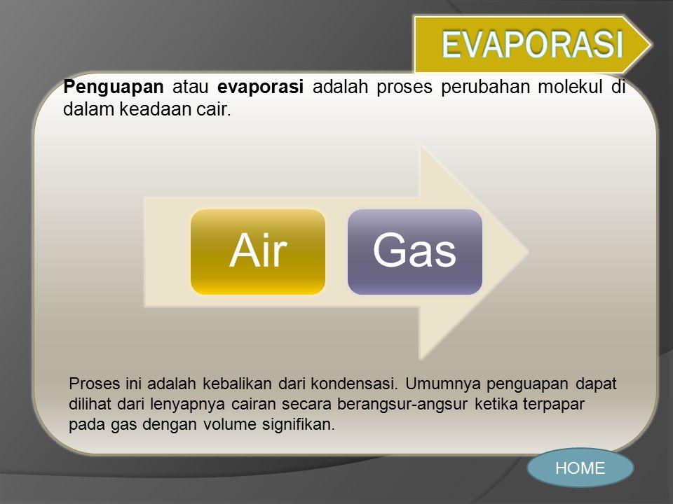 Penguapan atau evaporasi adalah proses perubahan molekul di dalam keadaan cair. HOME AirGas Proses ini adalah kebalikan dari kondensasi. Umumnya pengu
