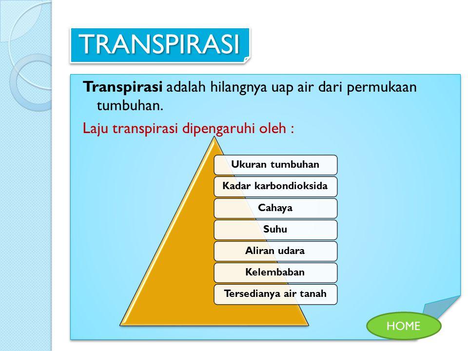 TRANSPIRASI Transpirasi adalah hilangnya uap air dari permukaan tumbuhan. Laju transpirasi dipengaruhi oleh : HOME Ukuran tumbuhan Kadar karbondioksid