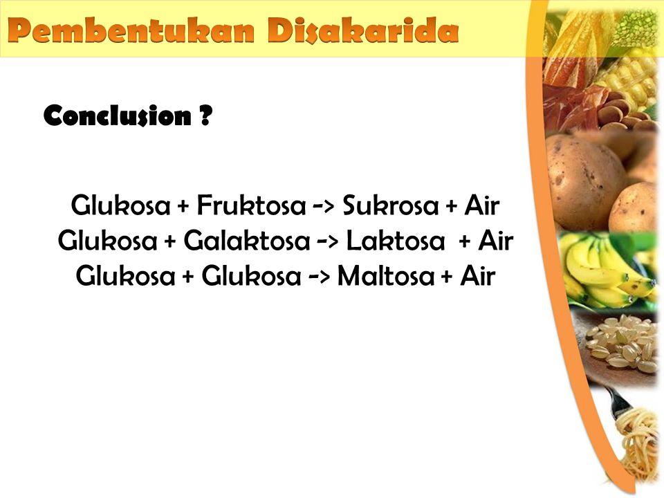 Conclusion ? Glukosa + Fruktosa -> Sukrosa + Air Glukosa + Galaktosa -> Laktosa + Air Glukosa + Glukosa -> Maltosa + Air