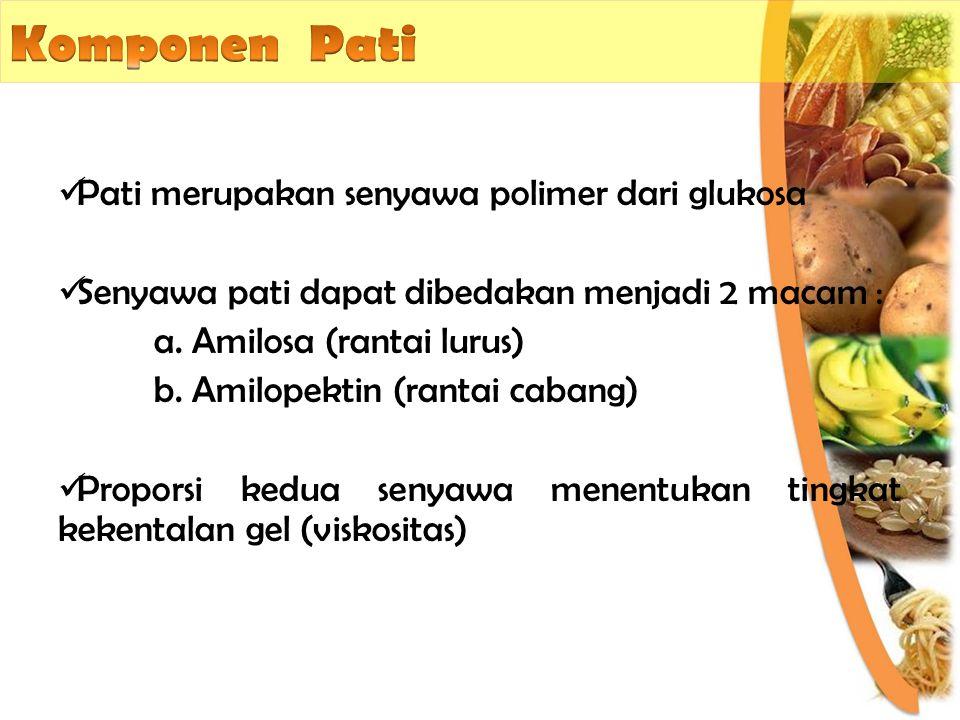Pati merupakan senyawa polimer dari glukosa Senyawa pati dapat dibedakan menjadi 2 macam : a. Amilosa (rantai lurus) b. Amilopektin (rantai cabang) Pr
