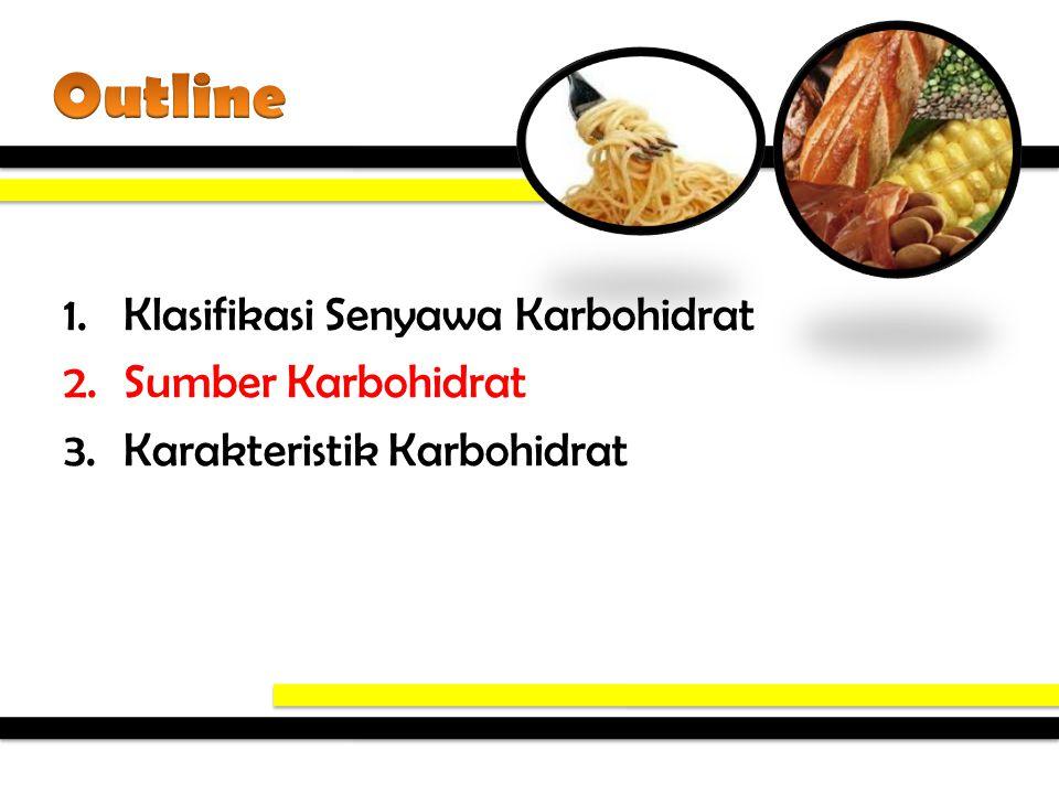 1.Klasifikasi Senyawa Karbohidrat 2.Sumber Karbohidrat 3.Karakteristik Karbohidrat