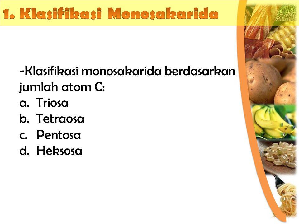-Mempunyai 3 atom C (C3H6O3) -Contoh: gliserosa, dihidroksi-aseton Triosa -Mempunyai 4 atom C (C4H8O4) -Contoh: eritrosa, eritralosa Tetraosa -Mempunyai 5 atom C (C5H10O5) -Contoh: ribulosa, arabinosa, silosa Pentosa -Mempunyai 6 atom C (C6H12O6) -Contoh: glukosa, galaktosa, manosa, fruktosa Heksosa