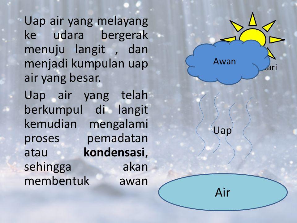 Uap air yang melayang ke udara bergerak menuju langit, dan menjadi kumpulan uap air yang besar.