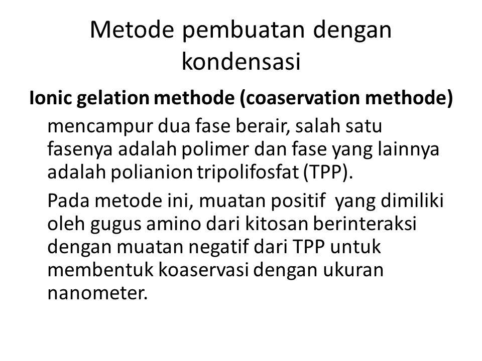 Metode pembuatan dengan kondensasi Ionic gelation methode (coaservation methode) mencampur dua fase berair, salah satu fasenya adalah polimer dan fase yang lainnya adalah polianion tripolifosfat (TPP).