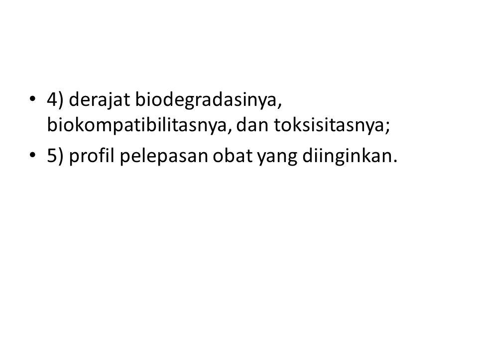 4) derajat biodegradasinya, biokompatibilitasnya, dan toksisitasnya; 5) profil pelepasan obat yang diinginkan.