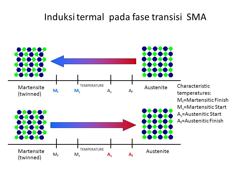 Induksi termal pada fase transisi SMA MfMf MsMs AsAs AfAf AusteniteMartensite TEMPERATURE MfMf MsMs AsAs AfAf AusteniteMartensite TEMPERATURE (twinned) Characteristic temperatures: M f =Martensitic Finish M s =Martensitic Start A s =Austenitic Start A f =Austenitic Finish
