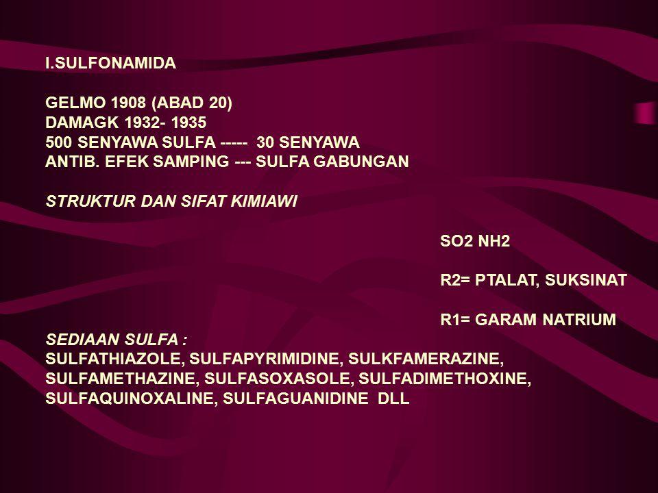 I.SULFONAMIDA GELMO 1908 (ABAD 20) DAMAGK 1932- 1935 500 SENYAWA SULFA ----- 30 SENYAWA ANTIB.