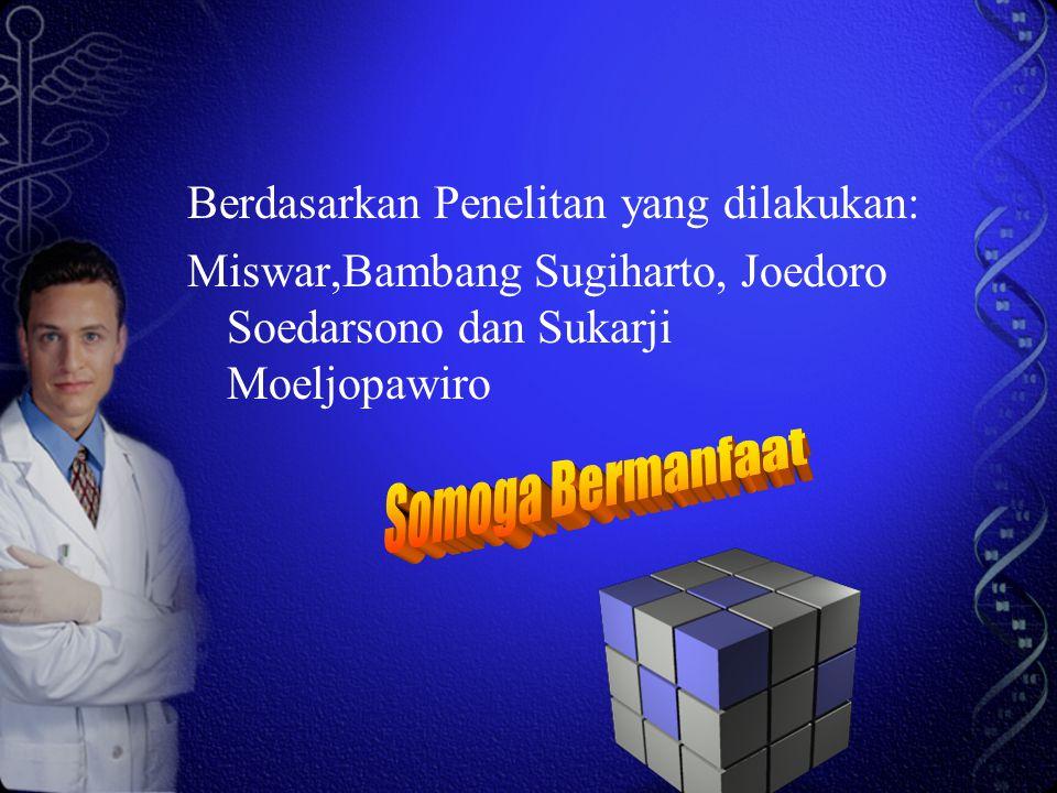Berdasarkan Penelitan yang dilakukan: Miswar,Bambang Sugiharto, Joedoro Soedarsono dan Sukarji Moeljopawiro