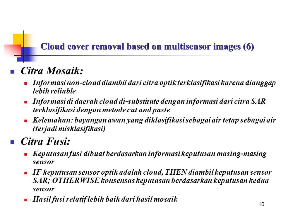 10 Cloud cover removal based on multisensor images (6) Citra Mosaik: Informasi non-cloud diambil dari citra optik terklasifikasi karena dianggap lebih