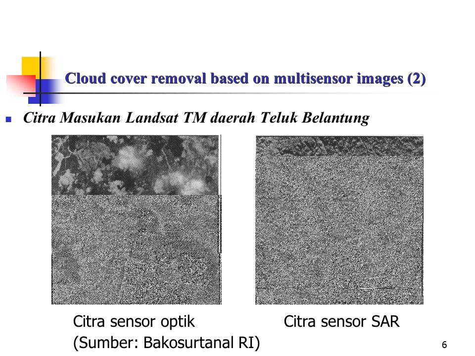 6 Cloud cover removal based on multisensor images (2) Citra Masukan Landsat TM daerah Teluk Belantung Citra sensor optik Citra sensor SAR (Sumber: Bak