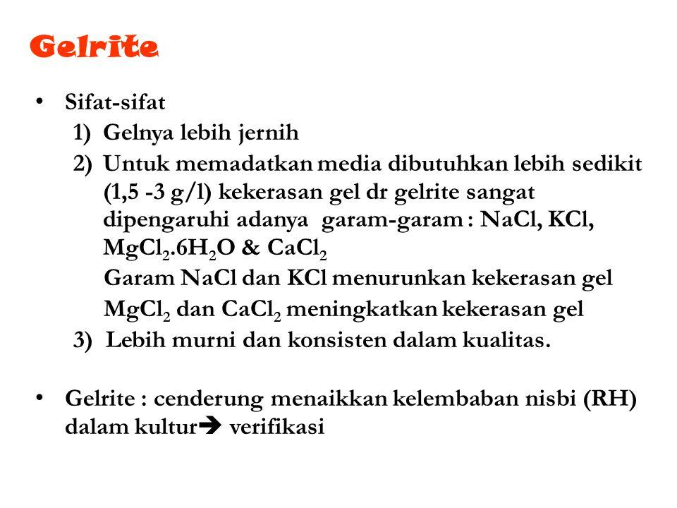 Sifat-sifat 1)Gelnya lebih jernih 2)Untuk memadatkan media dibutuhkan lebih sedikit (1,5 -3 g/l) kekerasan gel dr gelrite sangat dipengaruhi adanya ga