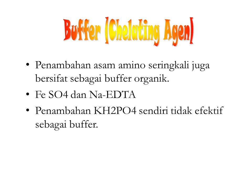 Penambahan asam amino seringkali juga bersifat sebagai buffer organik. Fe SO4 dan Na-EDTA Penambahan KH2PO4 sendiri tidak efektif sebagai buffer.