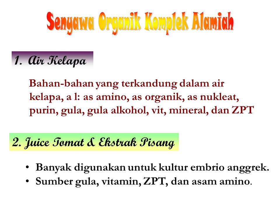 Bahan-bahan yang terkandung dalam air kelapa, a l: as amino, as organik, as nukleat, purin, gula, gula alkohol, vit, mineral, dan ZPT 1. Air Kelapa 2.