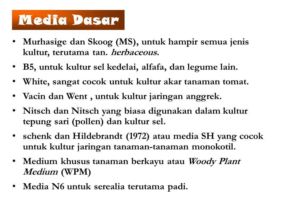 Murhasige dan Skoog (MS), untuk hampir semua jenis kultur, terutama tan. herbaceous. B5, untuk kultur sel kedelai, alfafa, dan legume lain. White, san