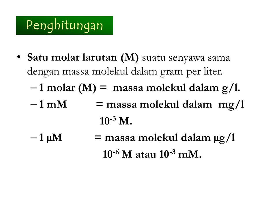 Satu molar larutan (M) suatu senyawa sama dengan massa molekul dalam gram per liter. – 1 molar (M) = massa molekul dalam g/l. – 1 mM = massa molekul d