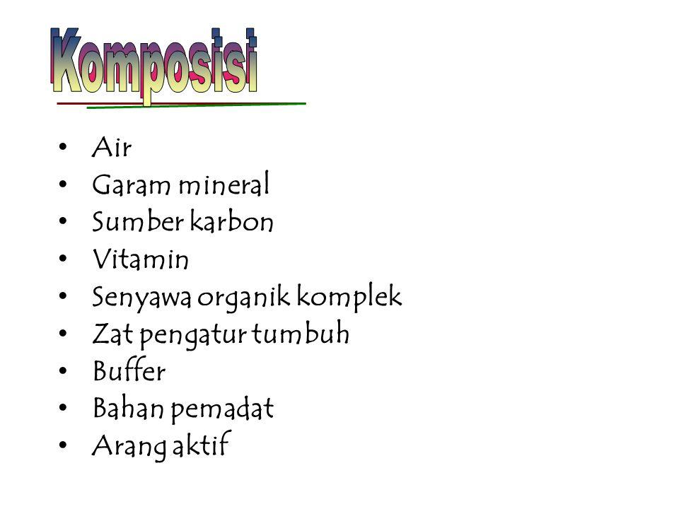 Air distilata Aquabides (air destilata ganda) Nitrogen : NO 3 -, NH 4 + (25-60 mM) Kalium : KCl or K 2 HPO 4 20 -30 mM Fosfor : K 2 HPO 4 or KH 2 PO4 1-3 mM Kalsium : CaCl 2 or Ca(NO 3 )2 1-3 mM Magnesium : MgSO 4 1-3 mM Sulfur : SO 4 1-3 mM 1.