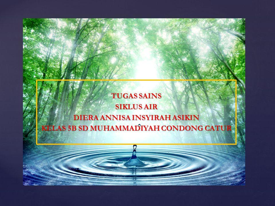 { TUGAS SAINS SIKLUS AIR DIERA ANNISA INSYIRAH ASIKIN KELAS 5B SD MUHAMMADIYAH CONDONG CATUR