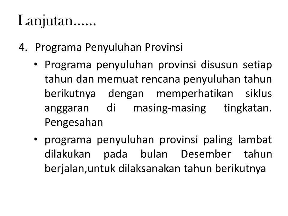 Lanjutan...... 4.Programa Penyuluhan Provinsi Programa penyuluhan provinsi disusun setiap tahun dan memuat rencana penyuluhan tahun berikutnya dengan