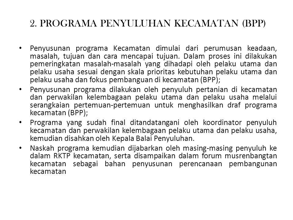2. PROGRAMA PENYULUHAN KECAMATAN (BPP) Penyusunan programa Kecamatan dimulai dari perumusan keadaan, masalah, tujuan dan cara mencapai tujuan. Dalam p