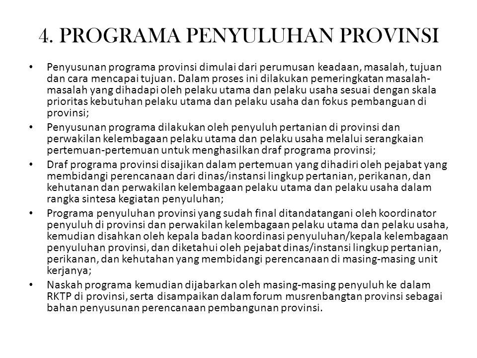 4. PROGRAMA PENYULUHAN PROVINSI Penyusunan programa provinsi dimulai dari perumusan keadaan, masalah, tujuan dan cara mencapai tujuan. Dalam proses in