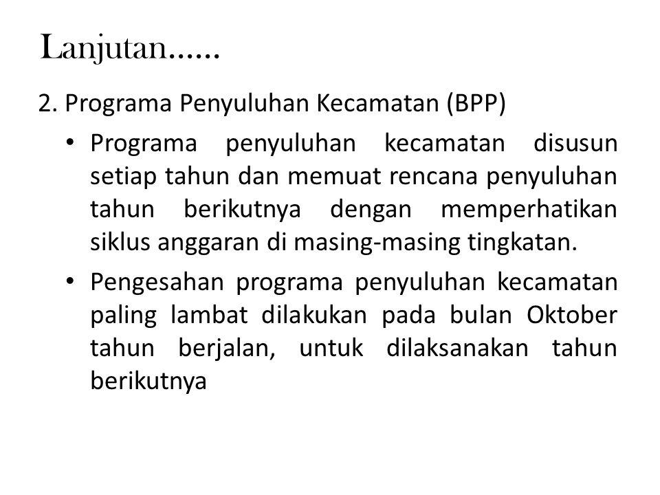 Lanjutan...... 2. Programa Penyuluhan Kecamatan (BPP) Programa penyuluhan kecamatan disusun setiap tahun dan memuat rencana penyuluhan tahun berikutny