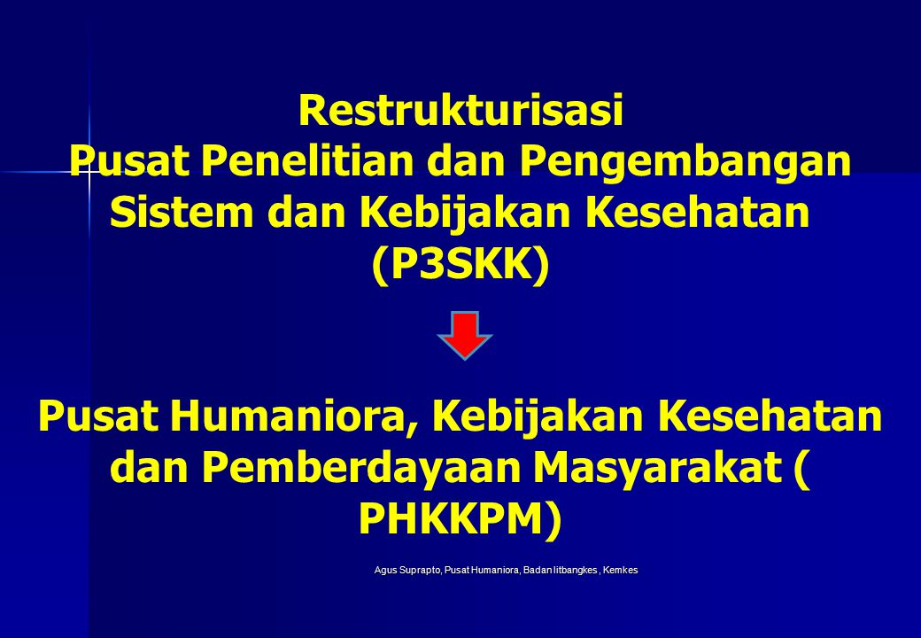 Agus Suprapto, Pusat Humaniora, Badan litbangkes, Kemkes Restrukturisasi Pusat Penelitian dan Pengembangan Sistem dan Kebijakan Kesehatan (P3SKK) Pusat Humaniora, Kebijakan Kesehatan dan Pemberdayaan Masyarakat ( PHKKPM)