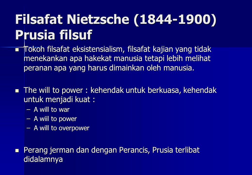 Filsafat Nietzsche (1844-1900) Prusia filsuf Tokoh filsafat eksistensialism, filsafat kajian yang tidak menekankan apa hakekat manusia tetapi lebih melihat peranan apa yang harus dimainkan oleh manusia.
