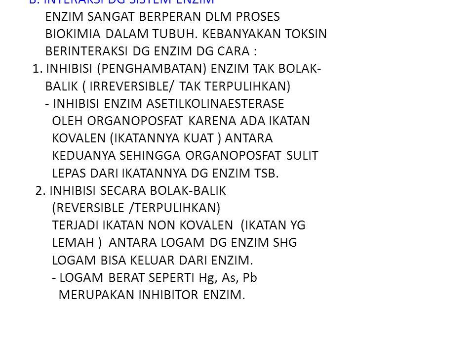B.INTERAKSI DG SISTEM ENZIM ENZIM SANGAT BERPERAN DLM PROSES BIOKIMIA DALAM TUBUH.