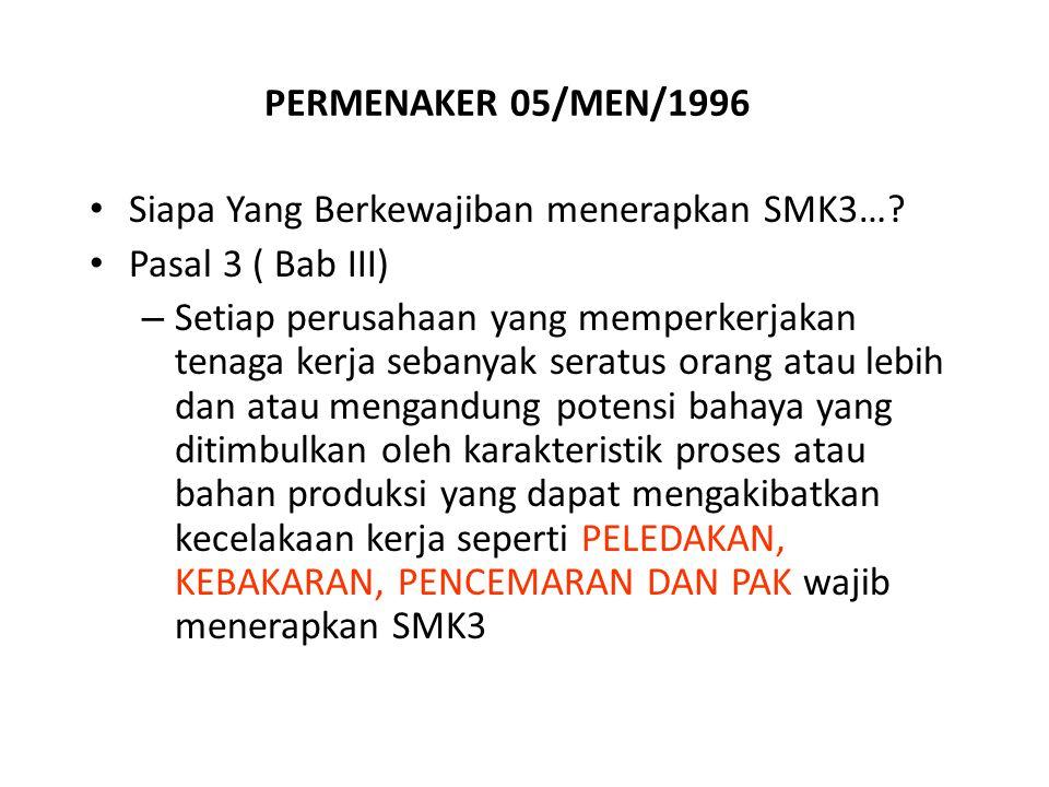PERMENAKER 05/MEN/1996 Siapa Yang Berkewajiban menerapkan SMK3….
