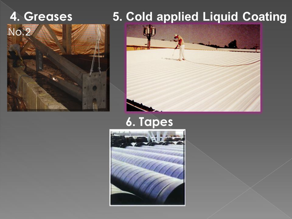 4. Greases 6. Tapes 5. Cold applied Liquid Coating