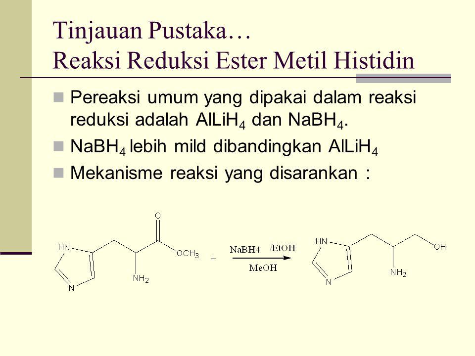 Tinjauan Pustaka… Reaksi Reduksi Ester Metil Histidin Pereaksi umum yang dipakai dalam reaksi reduksi adalah AlLiH 4 dan NaBH 4. NaBH 4 lebih mild dib