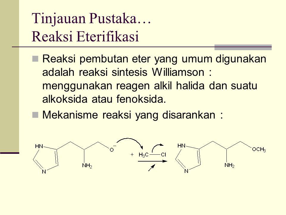Tinjauan Pustaka… Reaksi Eterifikasi Reaksi pembutan eter yang umum digunakan adalah reaksi sintesis Williamson : menggunakan reagen alkil halida dan