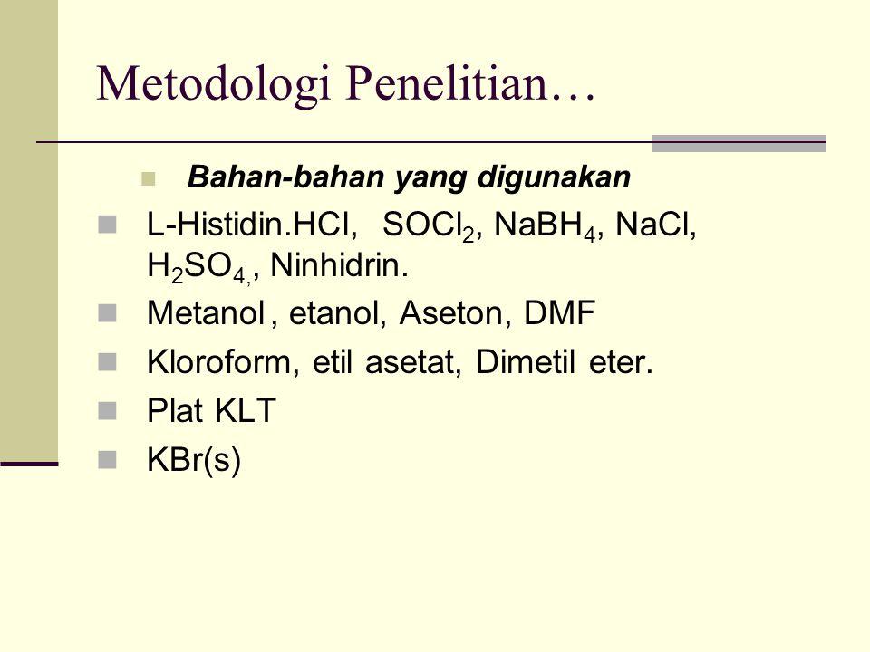 Metodologi Penelitian… Bahan-bahan yang digunakan L-Histidin.HCl, SOCl 2, NaBH 4, NaCl, H 2 SO 4,, Ninhidrin. Metanol, etanol, Aseton, DMF Kloroform,