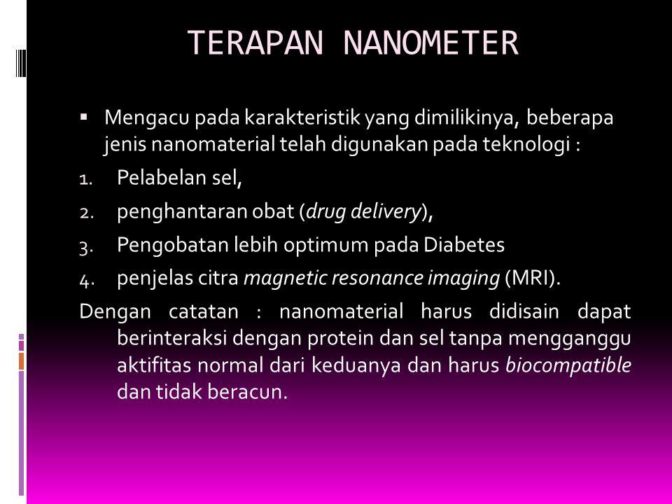 TERAPAN NANOMETER  Mengacu pada karakteristik yang dimilikinya, beberapa jenis nanomaterial telah digunakan pada teknologi : 1. Pelabelan sel, 2. pen