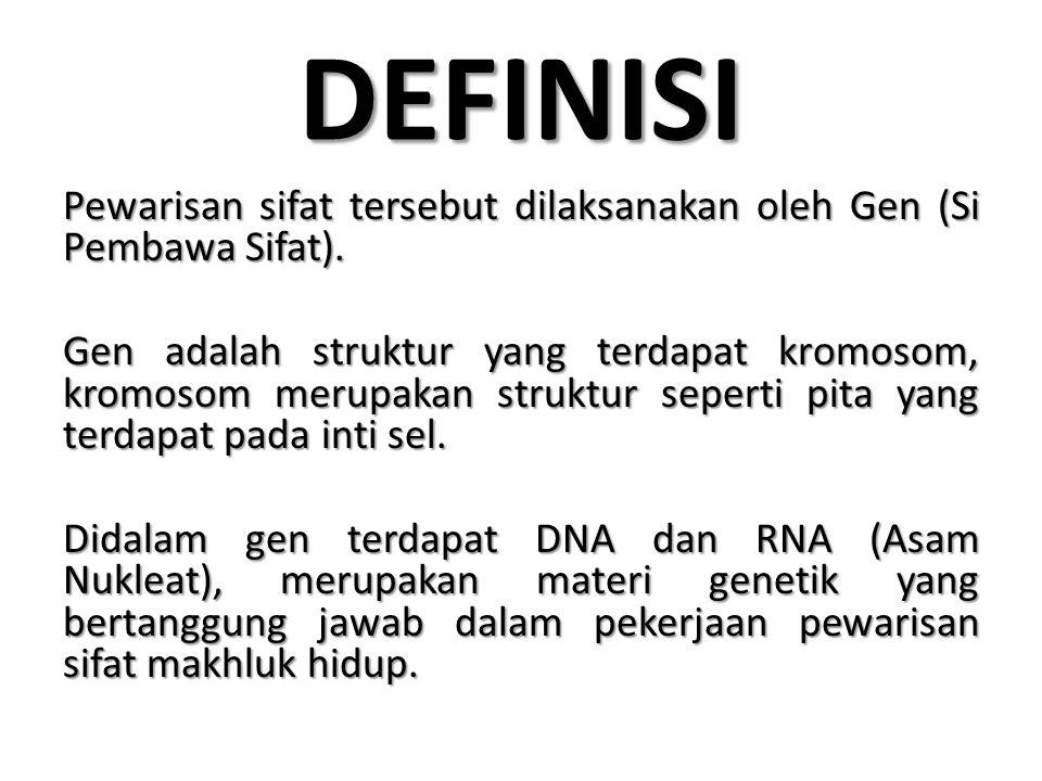 DNA Atau Deoxiribo Nucleat Acid, merupakan salah satu asam nukleat yang berperan dalam sintesa protein dan pewarisan sifat (Informasi Genetik).