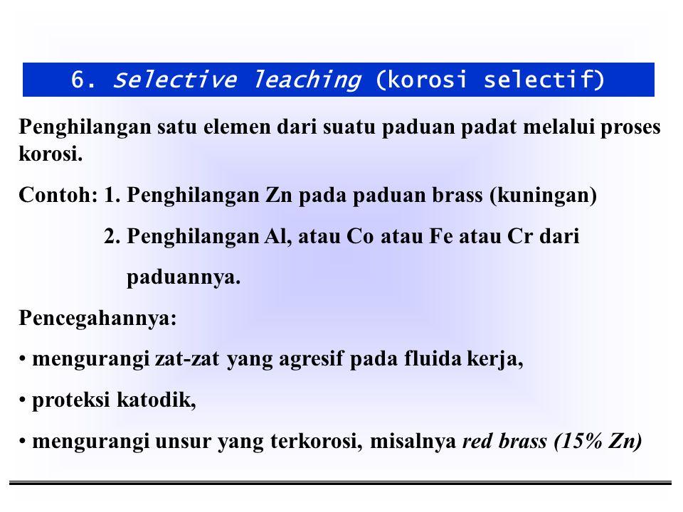 6. Selective leaching (korosi selectif) Penghilangan satu elemen dari suatu paduan padat melalui proses korosi. Contoh: 1. Penghilangan Zn pada paduan