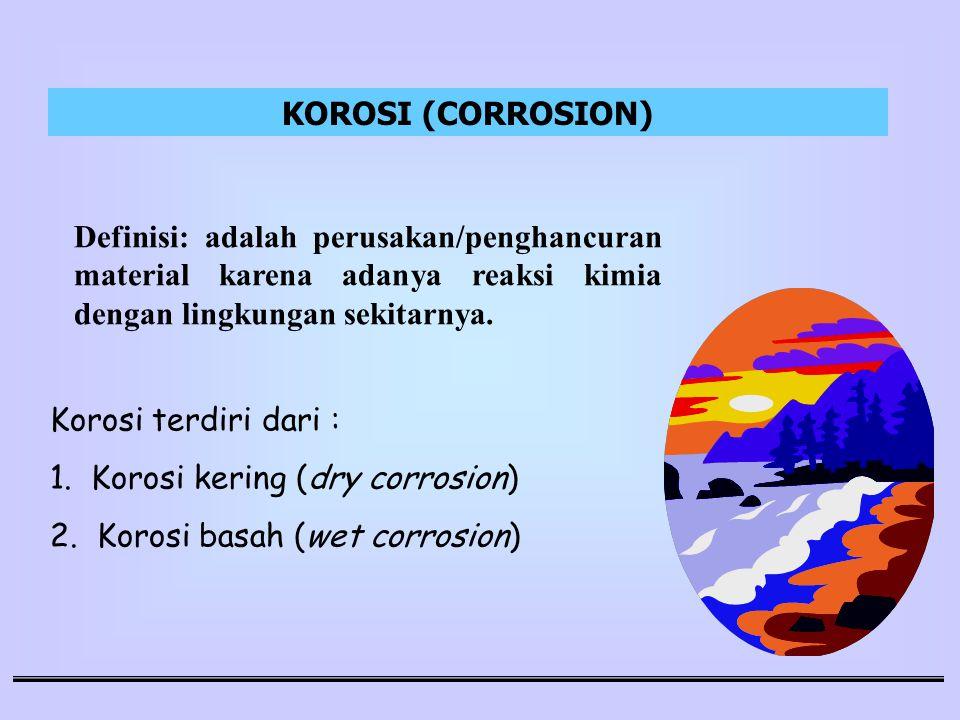 Definisi: adalah perusakan/penghancuran material karena adanya reaksi kimia dengan lingkungan sekitarnya. Korosi terdiri dari : 1. Korosi kering (dry