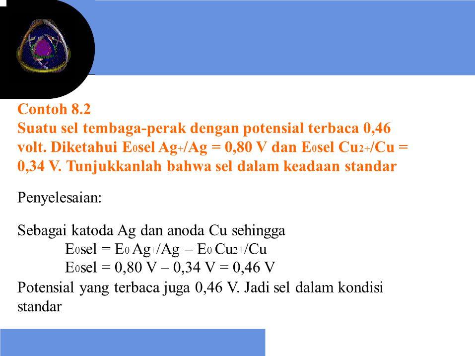 Contoh 8.2 Suatu sel tembaga-perak dengan potensial terbaca 0,46 volt. Diketahui E 0 sel Ag + /Ag = 0,80 V dan E 0 sel Cu 2+ /Cu = 0,34 V. Tunjukkanla