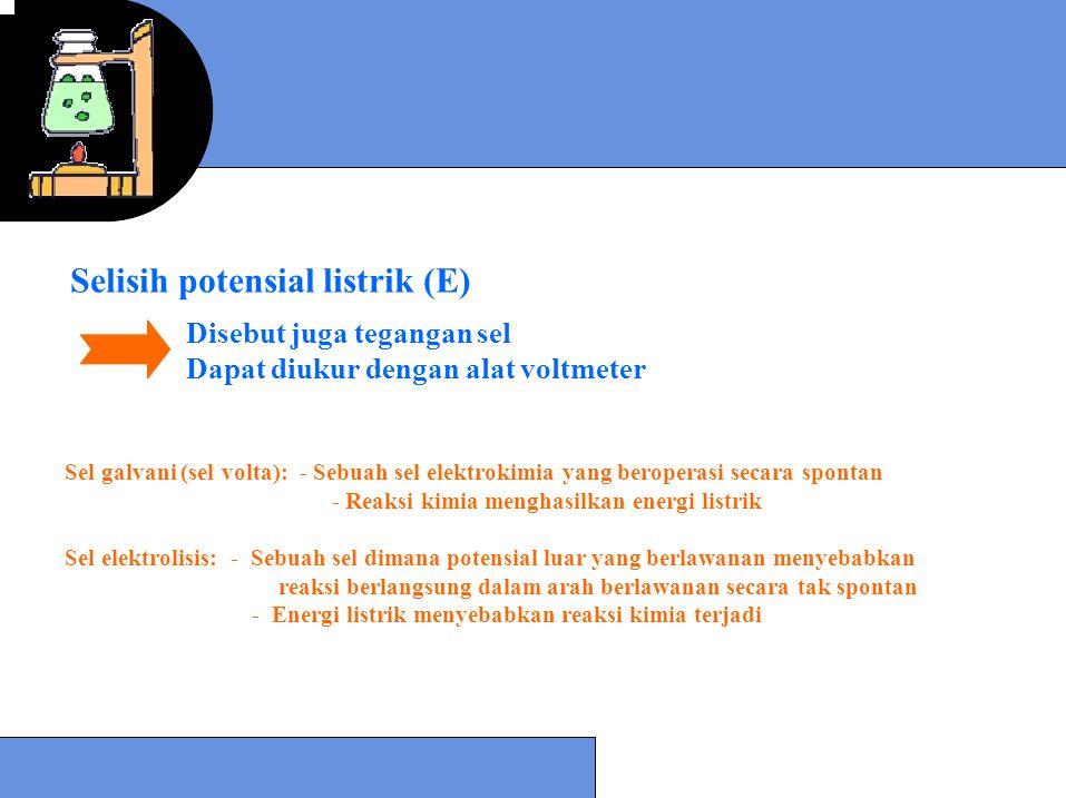 Selisih potensial listrik (E) Disebut juga tegangan sel Dapat diukur dengan alat voltmeter Sel galvani (sel volta): - Sebuah sel elektrokimia yang ber