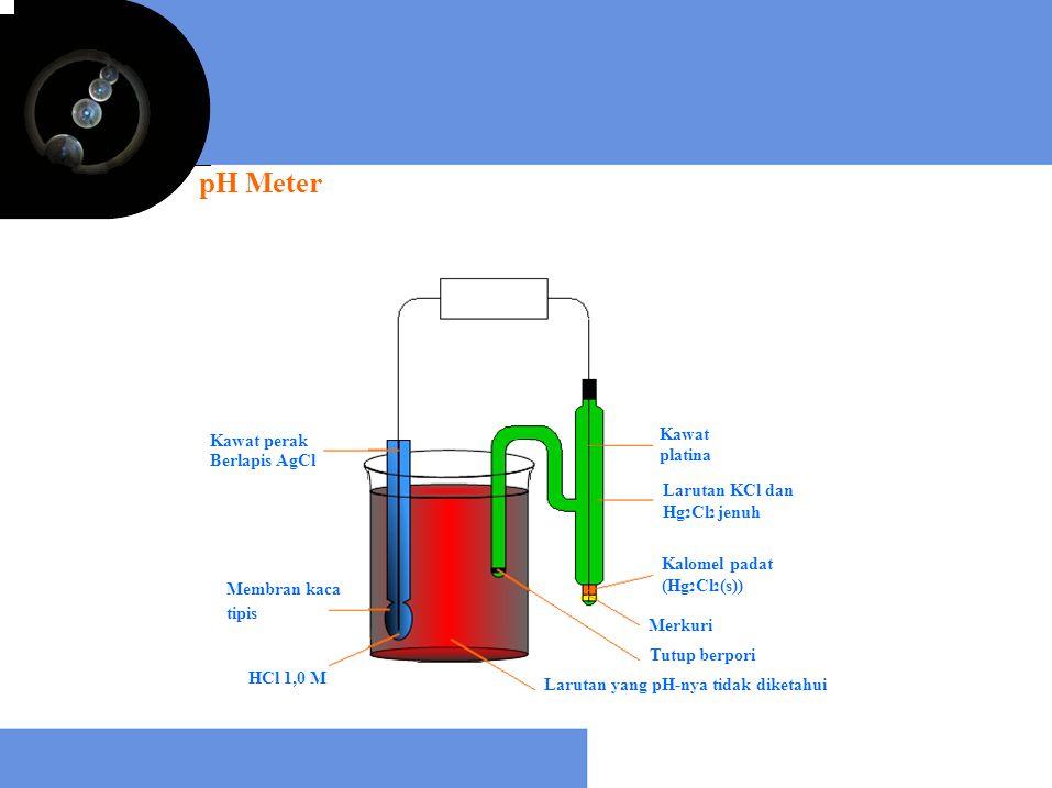 pH Meter Kawat perak Berlapis AgCl Membran kaca tipis HCl 1,0 M Kawat platina Larutan KCl dan Hg 2 Cl 2 jenuh Kalomel padat (Hg 2 Cl 2 (s)) Merkuri Tu