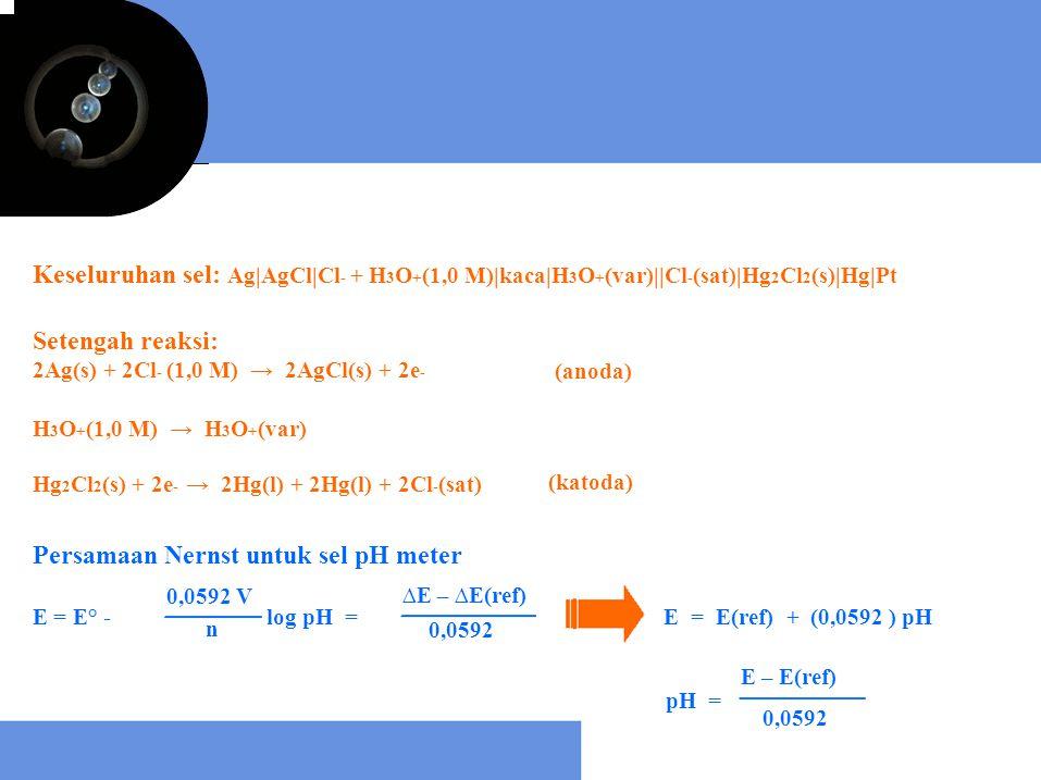 Setengah reaksi: 2Ag(s) + 2Cl - (1,0 M) → 2AgCl(s) + 2e - (anoda) H 3 O + (1,0 M) → H 3 O + (var) Hg 2 Cl 2 (s) + 2e - → 2Hg(l) + 2Hg(l) + 2Cl - (sat)