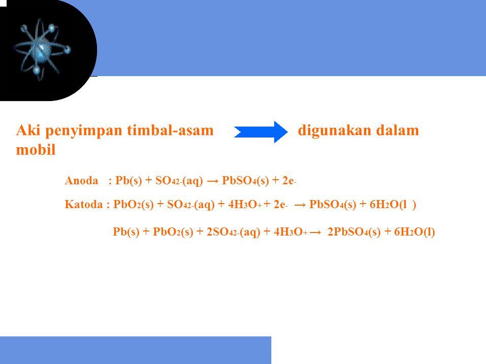 Aki penyimpan timbal-asamdigunakan dalam mobil Anoda : Pb(s) + SO 42- (aq) → PbSO 4 (s) + 2e - Katoda : PbO 2 (s) + SO 42- (aq) + 4H 3 O + + 2e - → Pb